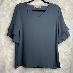 Ann Taylor Loft Gray Short Sleeve Blouse